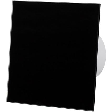 Black Glass Front Panel 100mm Timer Extractor Fan for Wall Ceiling Ventilation