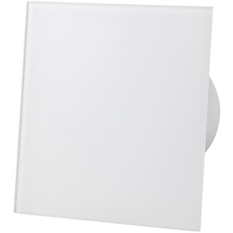 Matte White Glass Front Panel 100mm Timer Extractor Fan for Wall Ceiling Ventilation