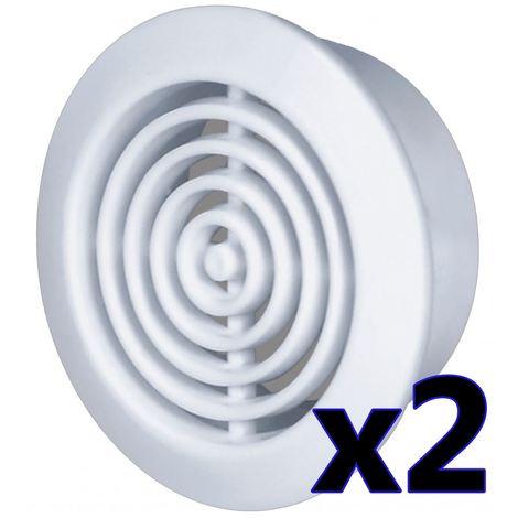 45mm Diameter Hole 2x White Round Door Air Vent Grille Woodwork Furniture
