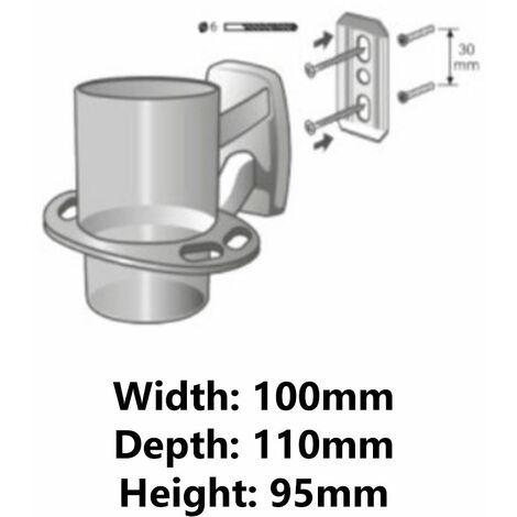 Single Tempered Glass Cup + Toothbrush Holes Grip Modern Bathroom Chromed Zamak