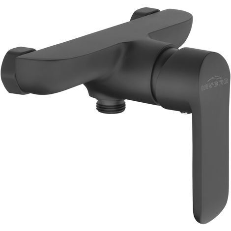 Bathroom Shower Wall Mounted Mixer Single Lever Tap Black Powder Coated Brass