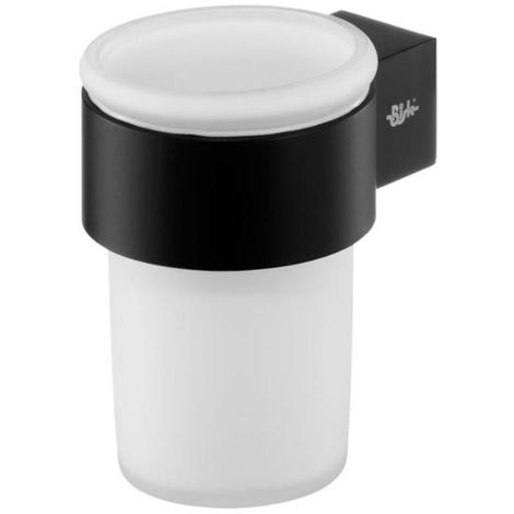 Single Tempered Glass Toothmug Toothbrush Cup Bathroom Black Powder Coated Zamak