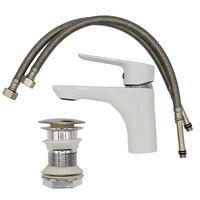 White/Chrome Bathroom Sink Elegant Standing Mixer Tap Single Lever Tap