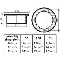 150mm Diameter White Plastic Ventilation Ducting Pipe Wall Plate Spigot