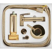 Gold Colour Finishing Brass Bidet Tap Ceramic Mixer Expendable Handle 1.2m Hose
