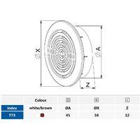 45mm Diameter Hole 2x Brown Round Door Air Vent Grille Woodwork Furniture