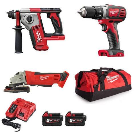 Pack 3 machines + 2 Batteries 5Ah + Chargeur M18BPP5A-503A MILWAUKEE - 4933472242
