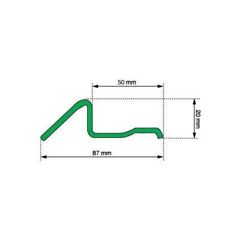 Seuil porte de garage R491 TORBEL - Tôle galvanisé - L.6.10 m - Larg.87/50 mm - H.30 mm - P79107610