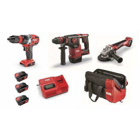 Lot 18V FLEX - Perceuse-visseuse + Perforateur + Meuleuse - 3 batteries + chargeur + accessoires