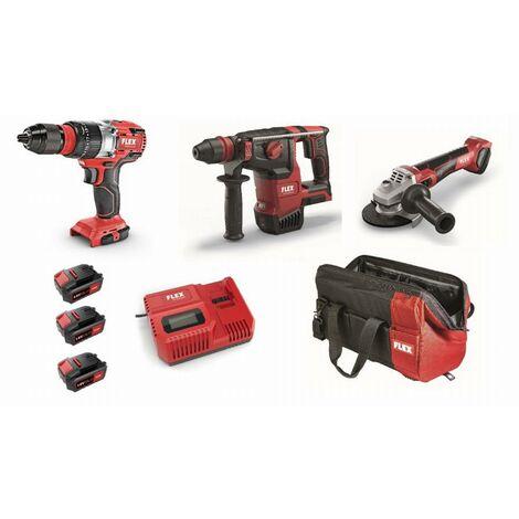 Lot 18V FLEX - Perceuse visseuse + Perforateur + Meuleuse - 3 batteries + chargeur + accessoires