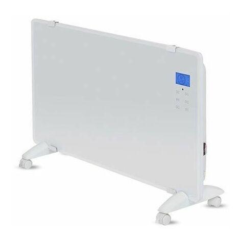 V-TAC VT-2002WRD Réchauffeur de convecteur en verre 2000W Écran LCD écran tactile + télécommande IR aluminium blanc IP24 - sku 8663