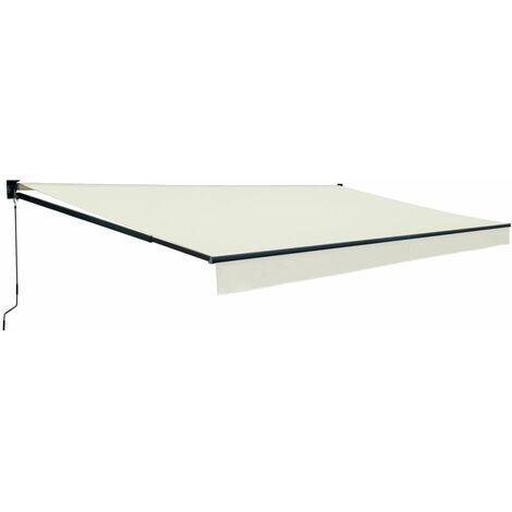 Store banne SAULE 3,95 × 3m - Toile beige et structure grise - Beige
