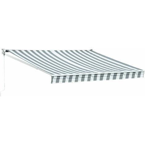 Store banne SAULE 3,5 × 3m - Toile rayée blanche/grise et structure blanche - Gris / Blanc
