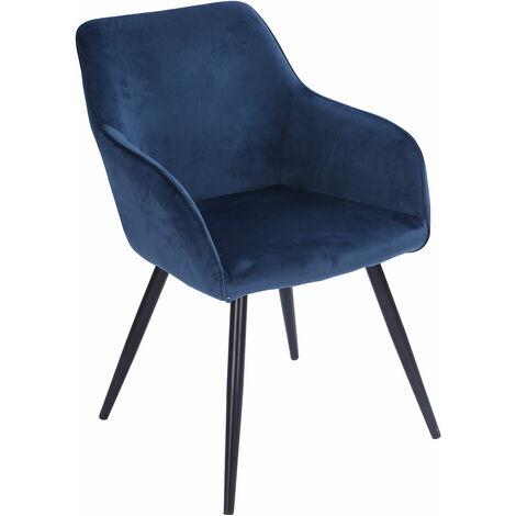 Chaise vintage GISELE velours bleu - Bleu