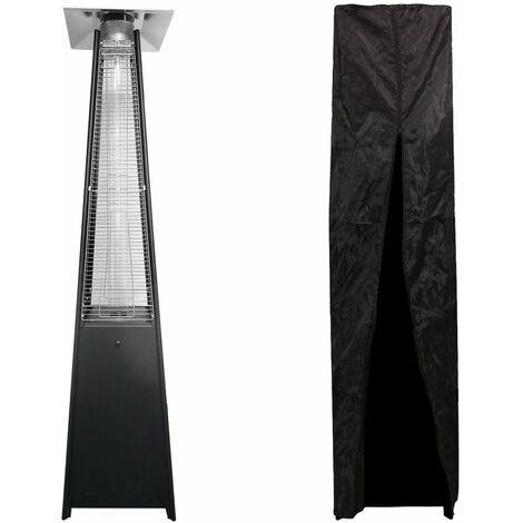 Parasol chauffant gaz STOCKHOLM 13kW acier noir + housse de protection - Noir