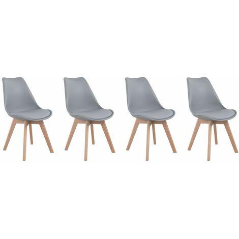 Lot de 4 chaises scandinaves NORA grises avec coussin - Gris