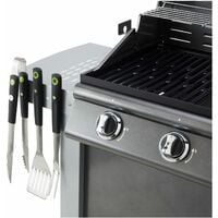 Cook'in Garden - Coffret de 3 accessoires aimantés pour barbecue - Gris
