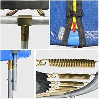 Pack Premium Trampoline 370cm réversible bleu / vert PERTH + filet, échelle, bâche et kit d'ancrage - Bleu
