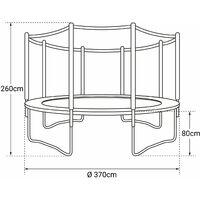 Pack Premium Trampoline 370cm réversible gris / rose PERTH + filet, échelle, bâche et kit d'ancrage - Gris