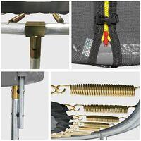 Pack Premium Trampoline 370cm réversible rose / gris PERTH + filet, échelle, bâche et kit d'ancrage - Rose