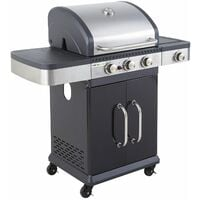 Cook'in Garden - Barbecue au gaz FIDGI 3 avec thermomètre - 3 brûleurs + réchaud 11,5kW - Noir