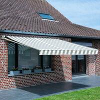 Store banne SAULE 3,95 × 3m - Toile rayée blanche/grise et structure blanche - Gris / Blanc