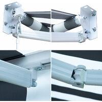 Store banne SAULE 2,5 × 2m - Toile rayée blanche/grise et structure blanche - Gris / Blanc