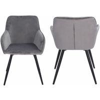 Chaise vintage GISELE velours gris - Gris