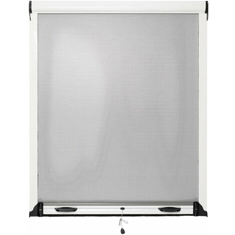 Moustiquaire Fenêtre Enroulable L125xH150cm Aluminium Blanc