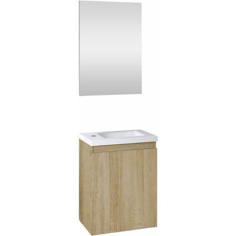 Ensemble meuble lave-mains avec miroir PORTO PACK Chêne Hamilton