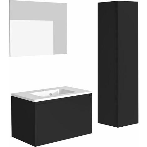 Meuble de salle de bain NORDIK noir ultra mat 80 cm + plan vasque STYLE + miroir DEKO 80x60 cm + colonne