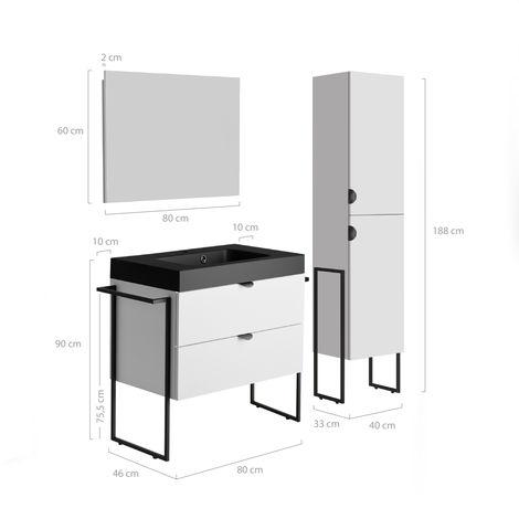 Meuble sous vasque 80 cm Faktory blanc mat + plan de toilette noir mat + miroir + colonne 40 cm