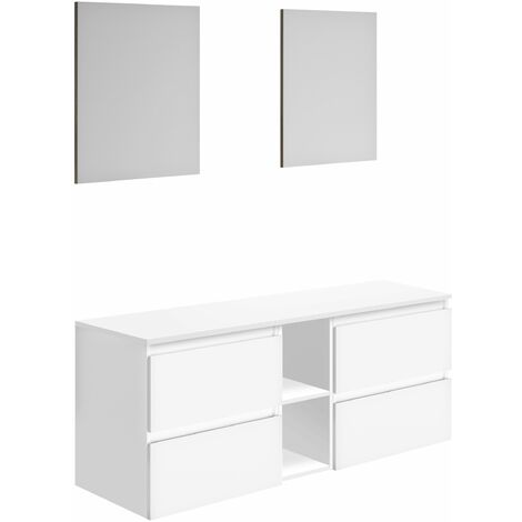 Meuble en kit GAYA à suspendre - blanc brillant - 150 x 59,8 x 46 cm
