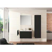 Meuble de salle de bain NORDIK noir ultra mat 80 cm + plan vasque STYLE