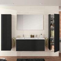 Meuble de salle de bain NORDIK noir ultra mat 120 cm + plan vasque STYLE + miroir DEKO 120x60 cm + colonne