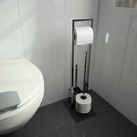 Valet WC VERRY avec dérouleur papier WC, réserve papier et brosse WC chromé - Base en verre trempé