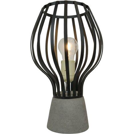 Lampe à poser en ciment et métal noir style industriel Ampoule LED