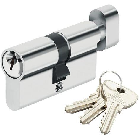 Cylindre de serrure à bouton pour porte barillet 30 x 30 mm Alpha Bricard 3 clés