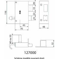 Serrure applique Verticale Tirage Tirant Gauche JPM 127000 01 21