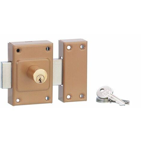 Serrurerie de Picardie - Verrou à bouton 1020 pour porte d'entrée, cylindre double à goupille, Ø21x45mm, bronze, 3 clés