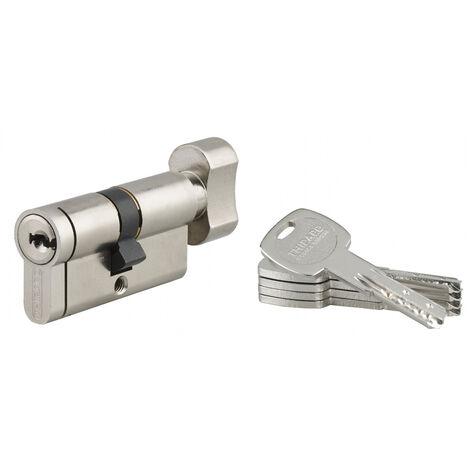 THIRARD - Cylindre de serrure à bouton débrayable Transit 2, 30Bx30mm, nickel, anti-perçage, anti-crochetage, 4 clés