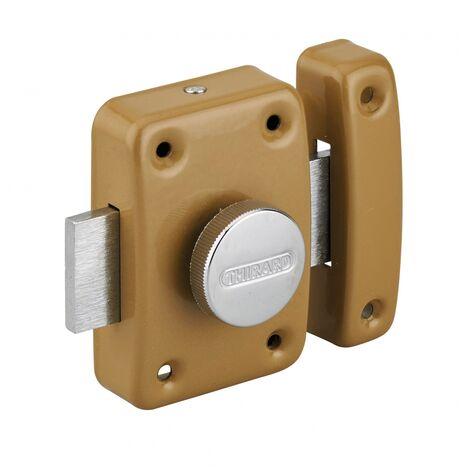 THIRARD - Verrou à bouton Trident pour porte intérieure, acier, époxy bronze