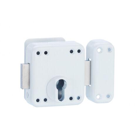 THIRARD - Boitier de verrou double entrée Rafale pour porte d'entrée à cylindre, acier, epoxy blanc