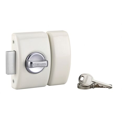 THIRARD - Verrou à bouton Design 5 pour porte d'entrée, cylindre 40mm, acier, 3 clés, blanc