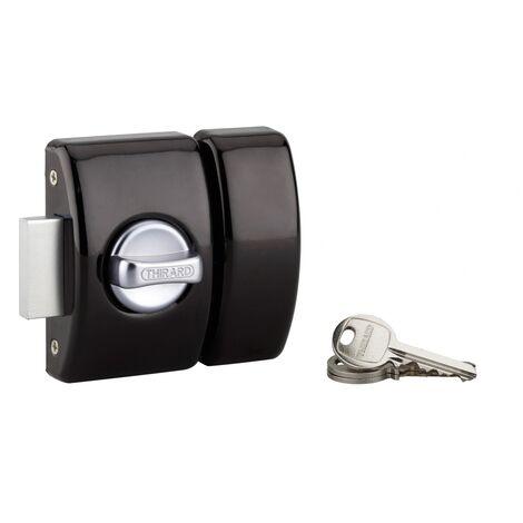 THIRARD - Verrou à bouton Design 5 pour porte d'entrée, cylindre 40mm, acier, 3 clés, noir