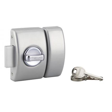 THIRARD - Verrou à bouton Design 5 pour porte d'entrée, cylindre 50mm, acier, 3 clés, argent