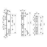 THIRARD - Boitier de serrure encastrable à cylindre pour menuiserie métallique, axe 21mm, bouts carrés, inox
