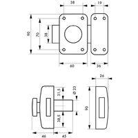 THIRARD - Paire de verrous Capital pour porte d'entrée, cylindre double HG 45mm, s'entrouvrant, 6 clés