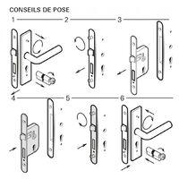 THIRARD - Boitier de serrure encastrable à cylindre pour porte d'entrée, rosace ouverte, axe 50mm, bouts ronds