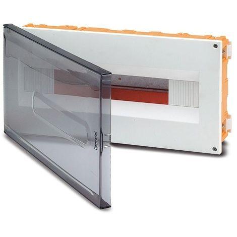 Coffret à encastrer 18 modules 195X394X62mm pour placo avec porte transparente IP40 FAMATEL 3318-FT